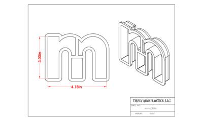 """Helvetica """"m"""" lower case 3.0"""""""