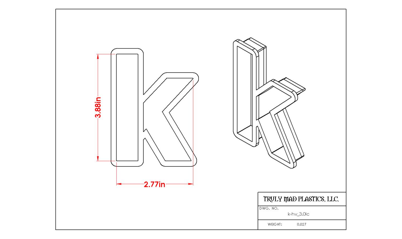 """Helvetica """"k"""" lower case 3.0"""""""