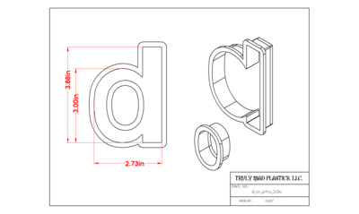 """Helvetica """"d or p"""" lower case 3.0"""""""