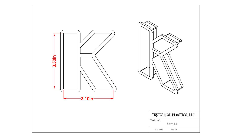 """Helvetica K 3.5"""""""
