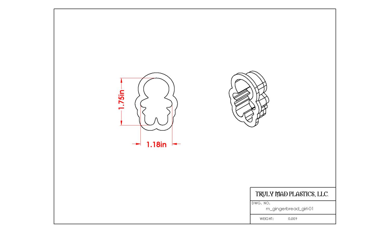 """Mini Gingerbread Girl 01 (1.75"""")"""