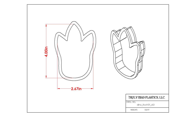 """Dinosaur Foot 01 (4.0"""")"""