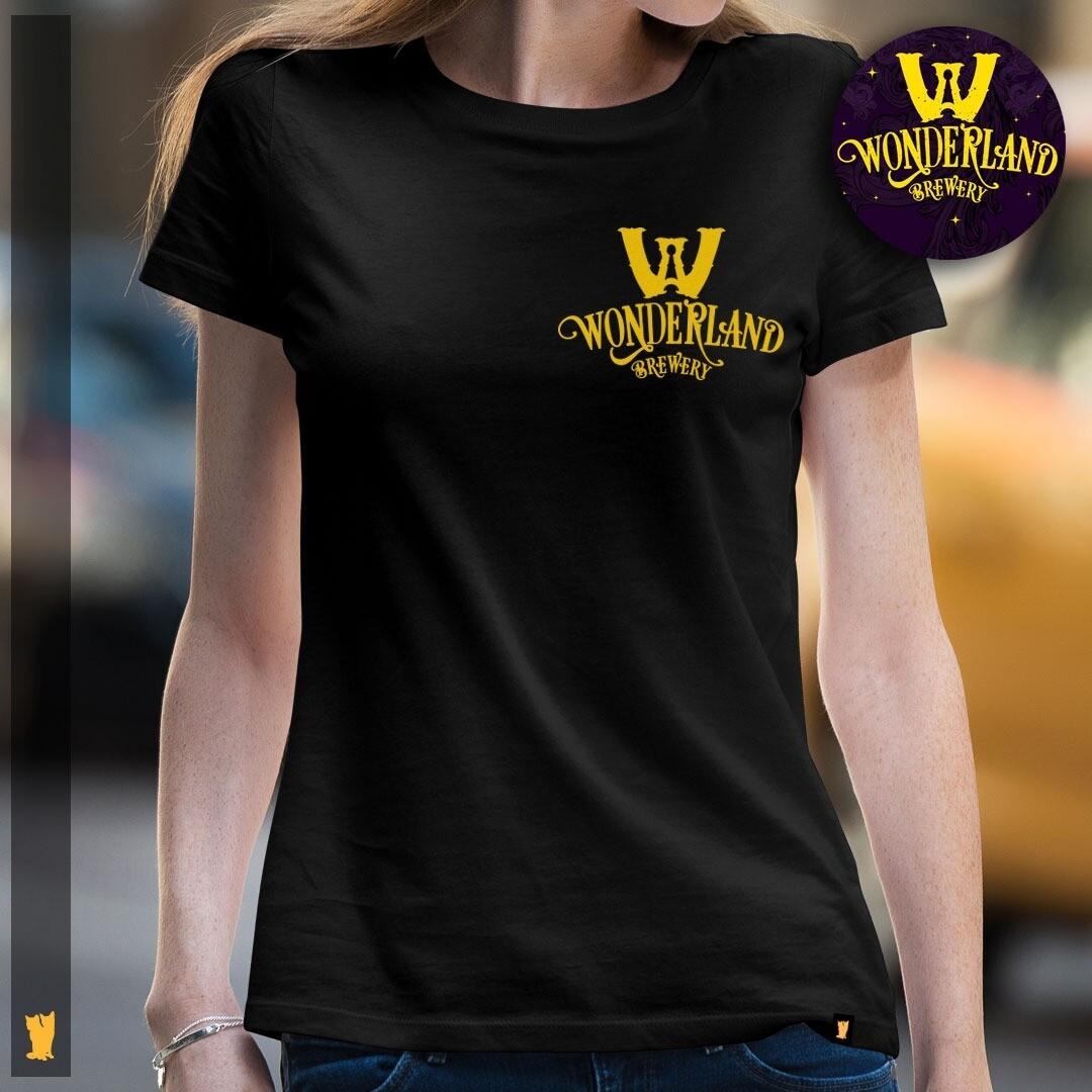 Camisa feminina com logo da Wonderland Brewery