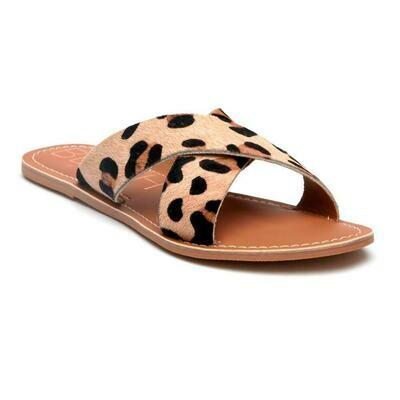 Beach Pebble Leopard/Cow Hair Sandal