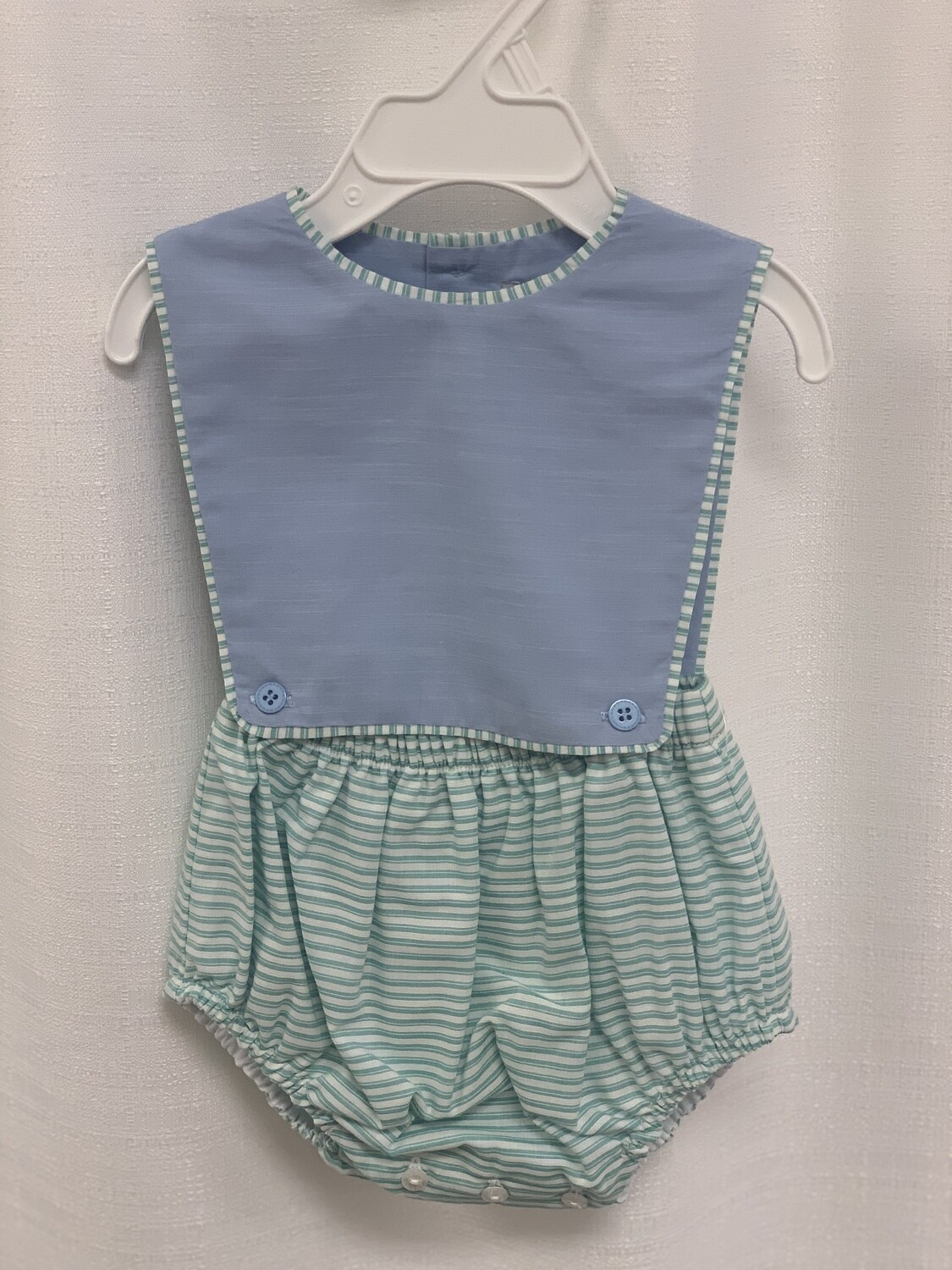 Sophie and Lucas Boy Green Striped Overall
