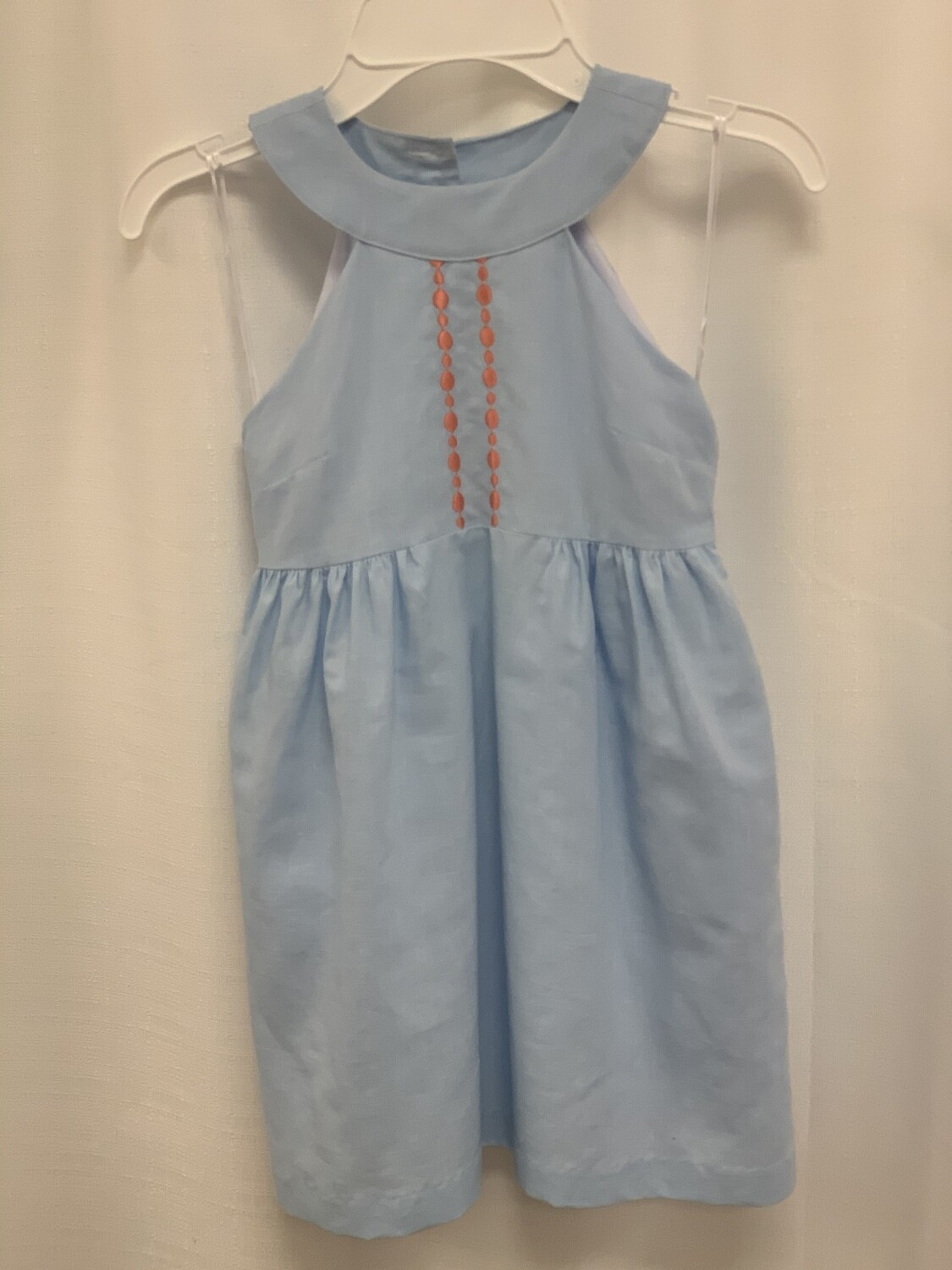 Gabby Light Blue Dress with Coral Dots 1221