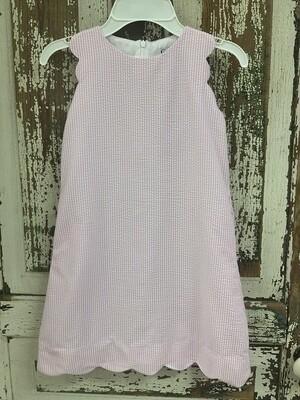 Gabby Scalloped Light Pink Seersucker Dress 1206