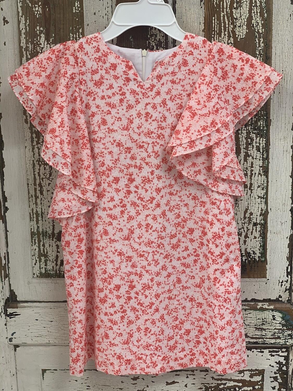 Gabby Pink Floral Flutter Sleeve Dress 1212