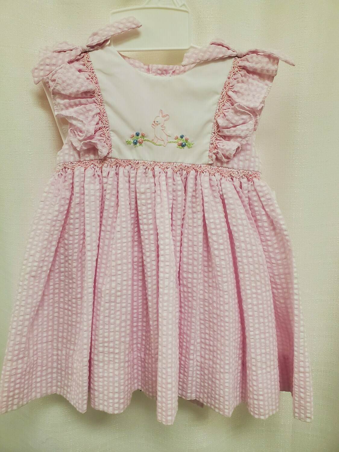Petit Ami [2279] Bunny Dress- Pink and White Ging
