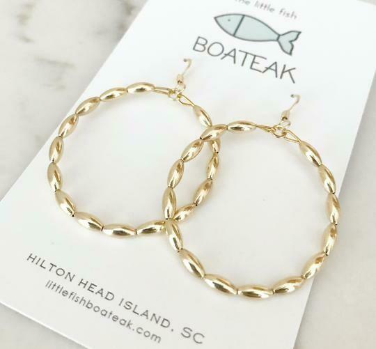 Little Fish Boateak Charleston RiceBead Hoop Earrings Lg