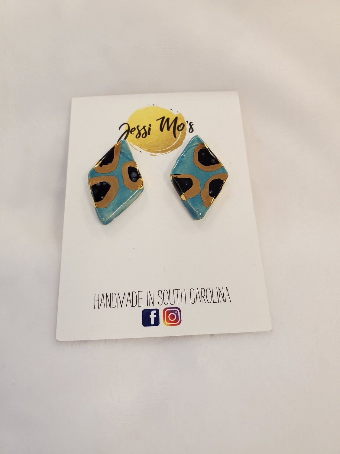 Jessi Mo's Ceramic Earrings- Blue Isle Glaze- 2 Options