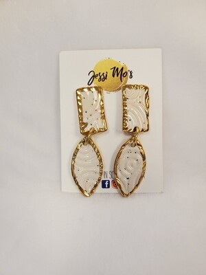 Jessi Mo's Ceramic Earrings- White Speckle Glaze