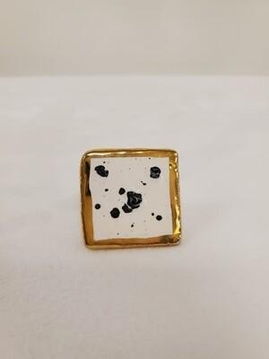 Jessi Mo's Ceramic Ring- Ink Spot Glaze- Size 7.5