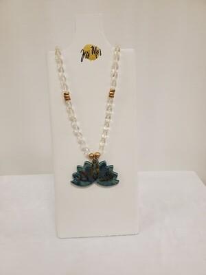 Jessi Mo's Ceramic Necklace- Monsoon Seas Glaze-Lotus