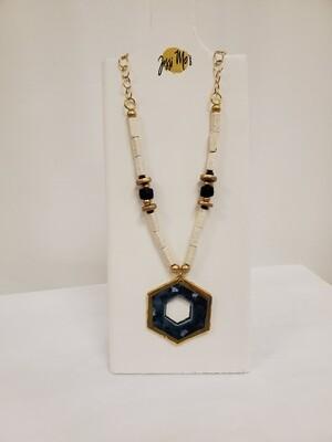 Jessi Mo's Ceramic Necklace- Waterfall Glaze- Polygon
