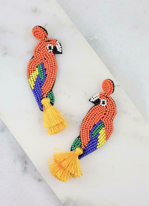Parrot Post Beaded Earrings with Tassel