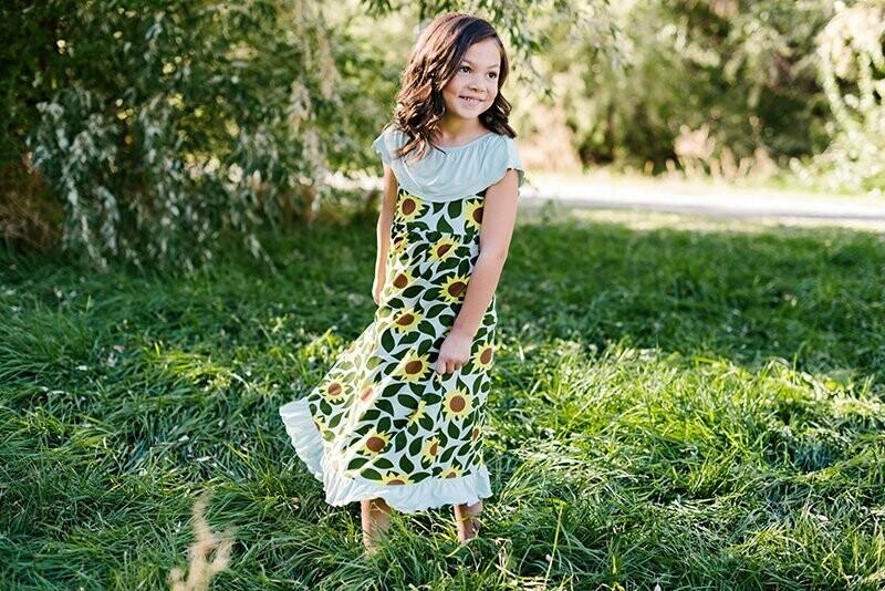 Kickee Pants Villa Dress - Aloe Sunflower 4T