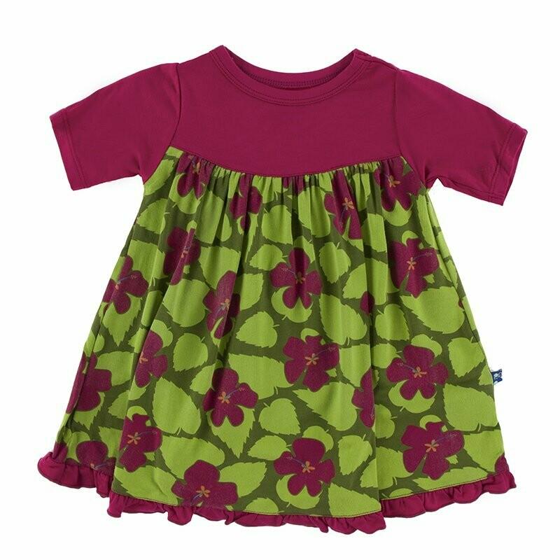 Kickee Pants Swing Dress Pesto Hibiscus