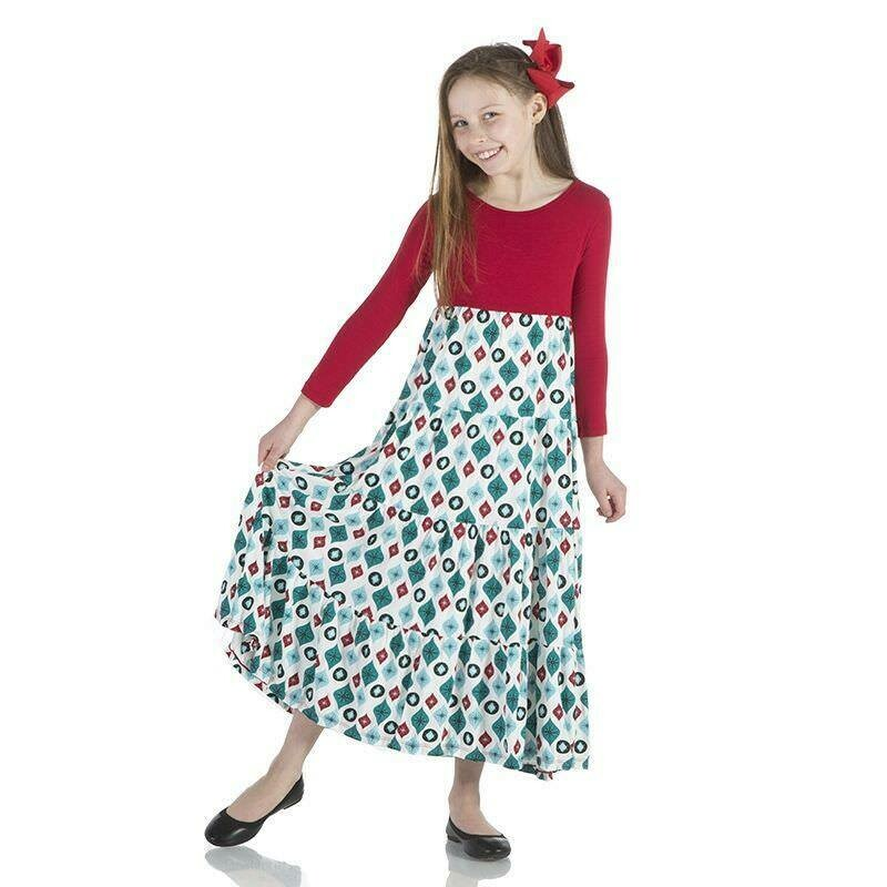 Kickee Pants Tiered Dress Natural Holiday Ornaments 3T