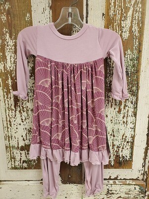 Kickee Pants Dress Romper - Shell Fossils
