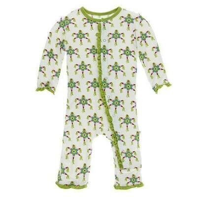 Kickee Pants Ruffle Coverall- Natural Pinata 12-18M