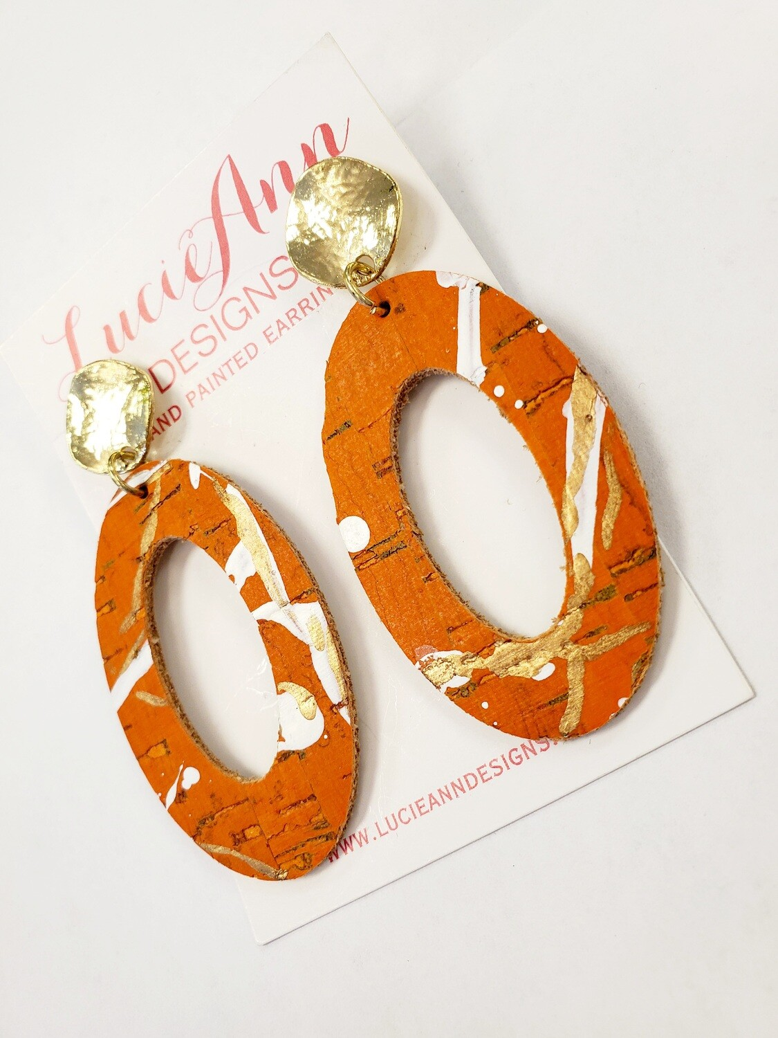 Oval Leather Hoops- Rust