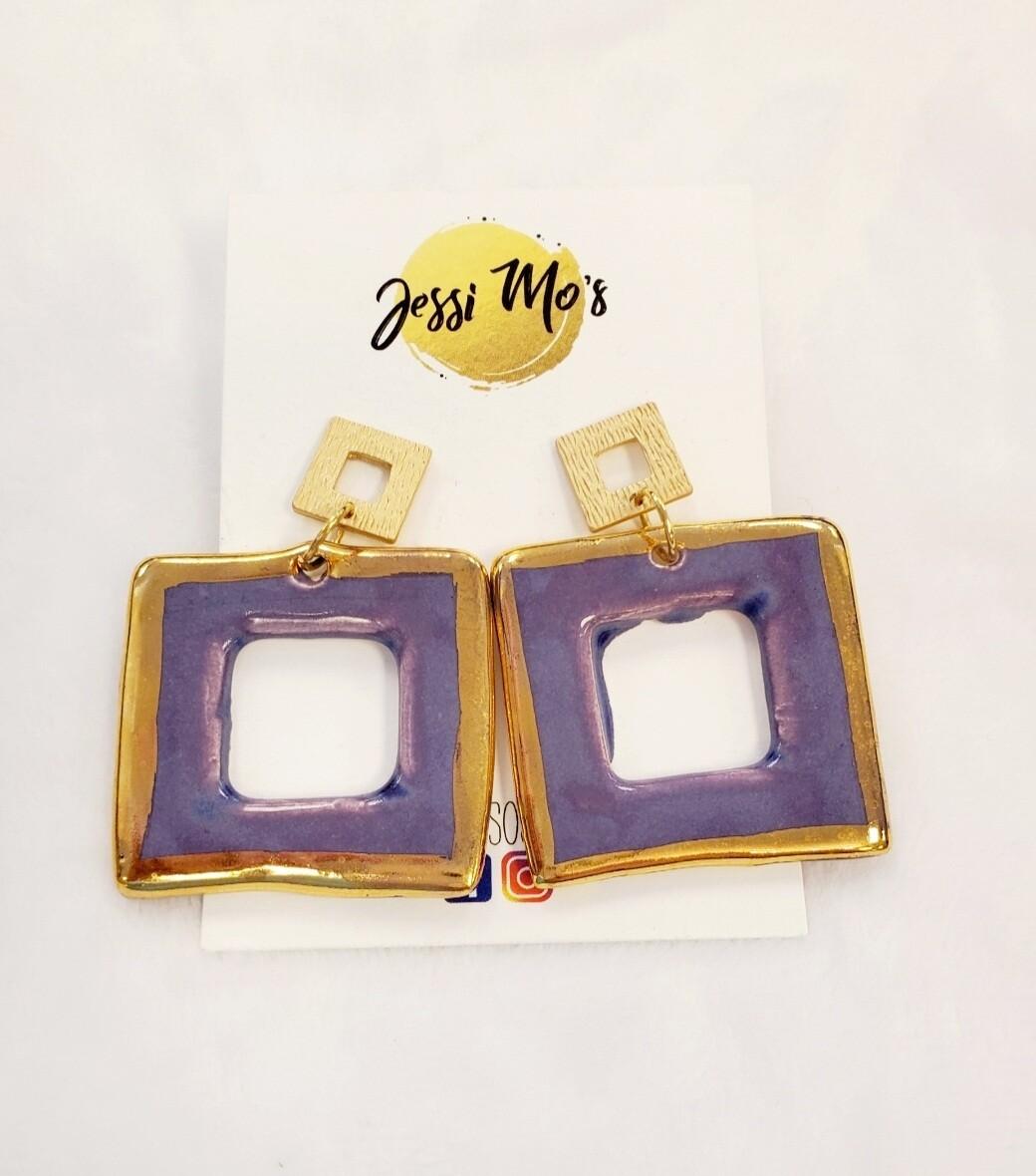 Jessi Mo's Ceramic Earrings- Lavender Flower Glaze