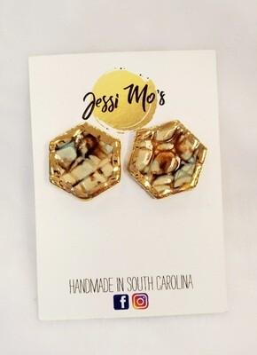 Jessi Mo's Ceramic Earrings- Mocha Marble Glaze