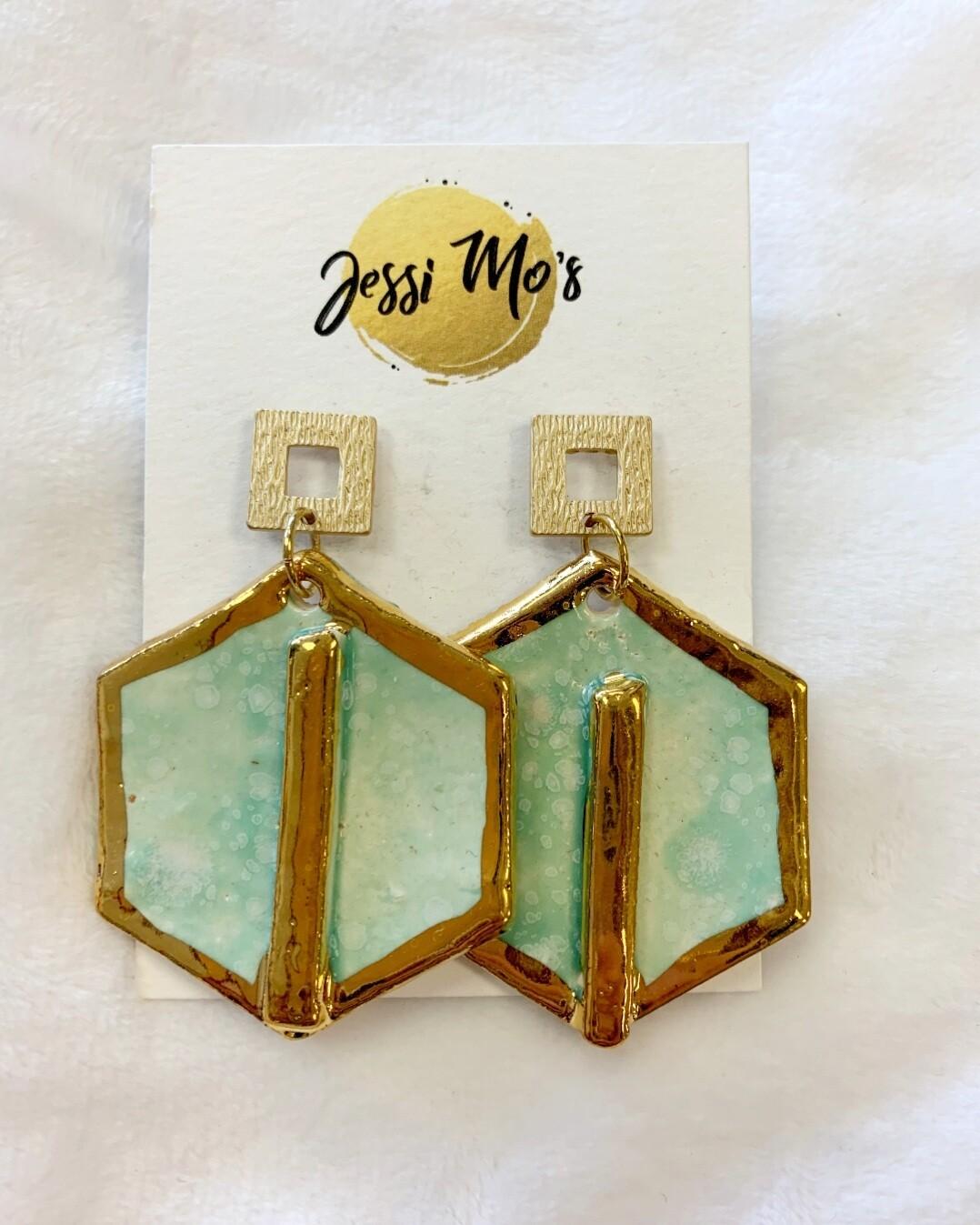 Jessi Mo's Ceramic Earrings- Seafoam Glaze- 2 Options