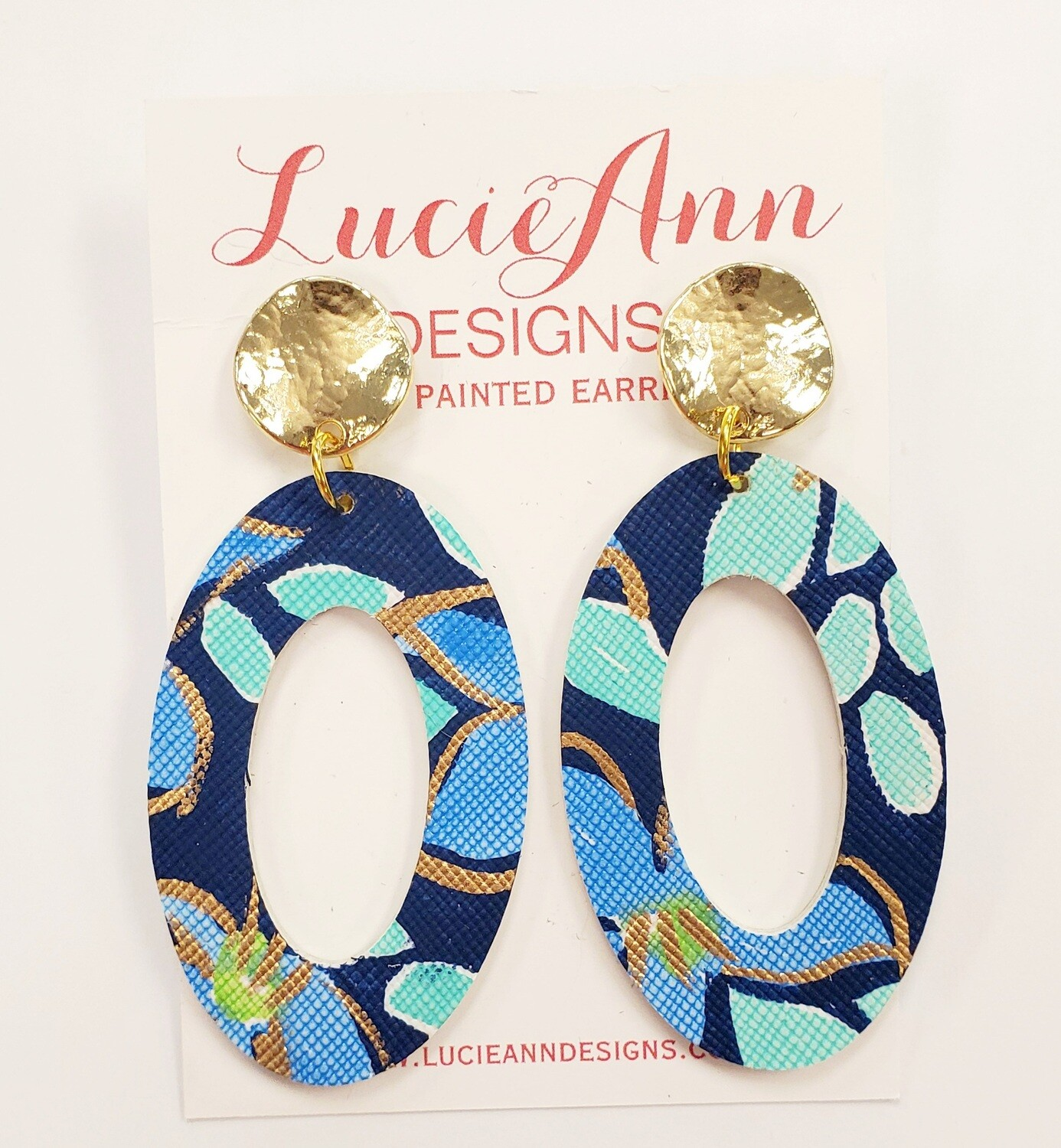 Oval Leather Hoops- Blue Paradise