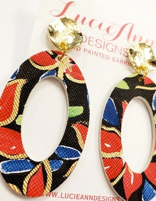 Oval Leather Hoops- Red Floral