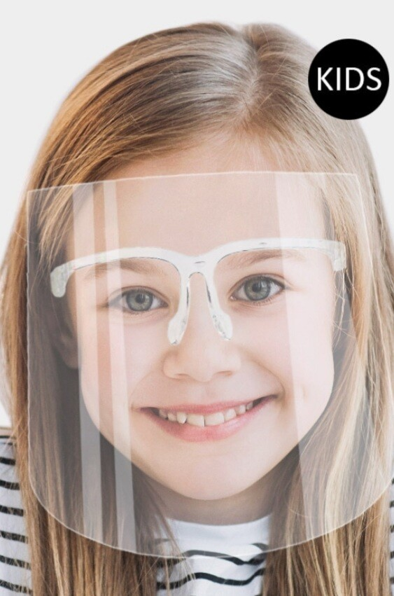 Kids Face Shields with glasses