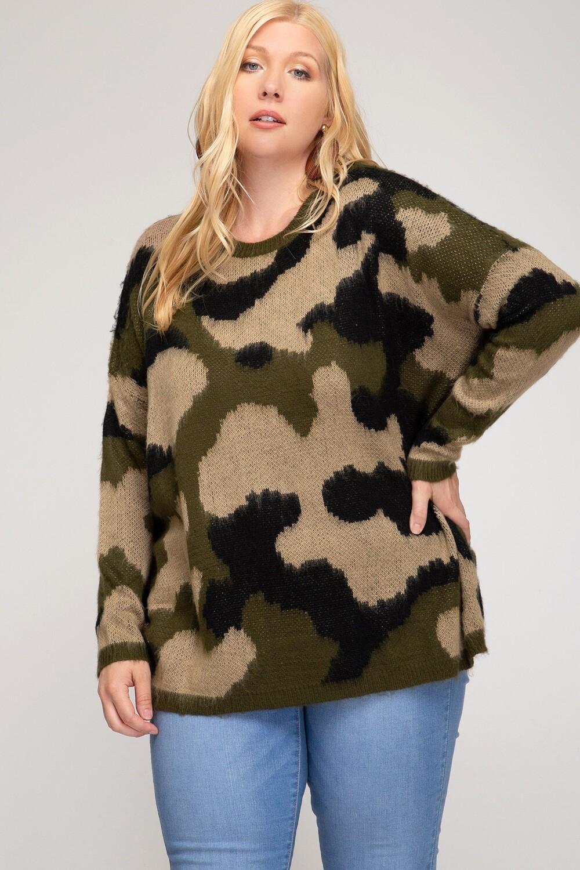 Camo Print Sweater- One Size PLUS