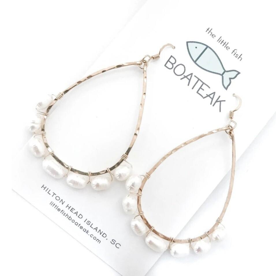Little Fish Boateak Coastal Glam Beaded Schooner Earrings w/ Rice Pearls