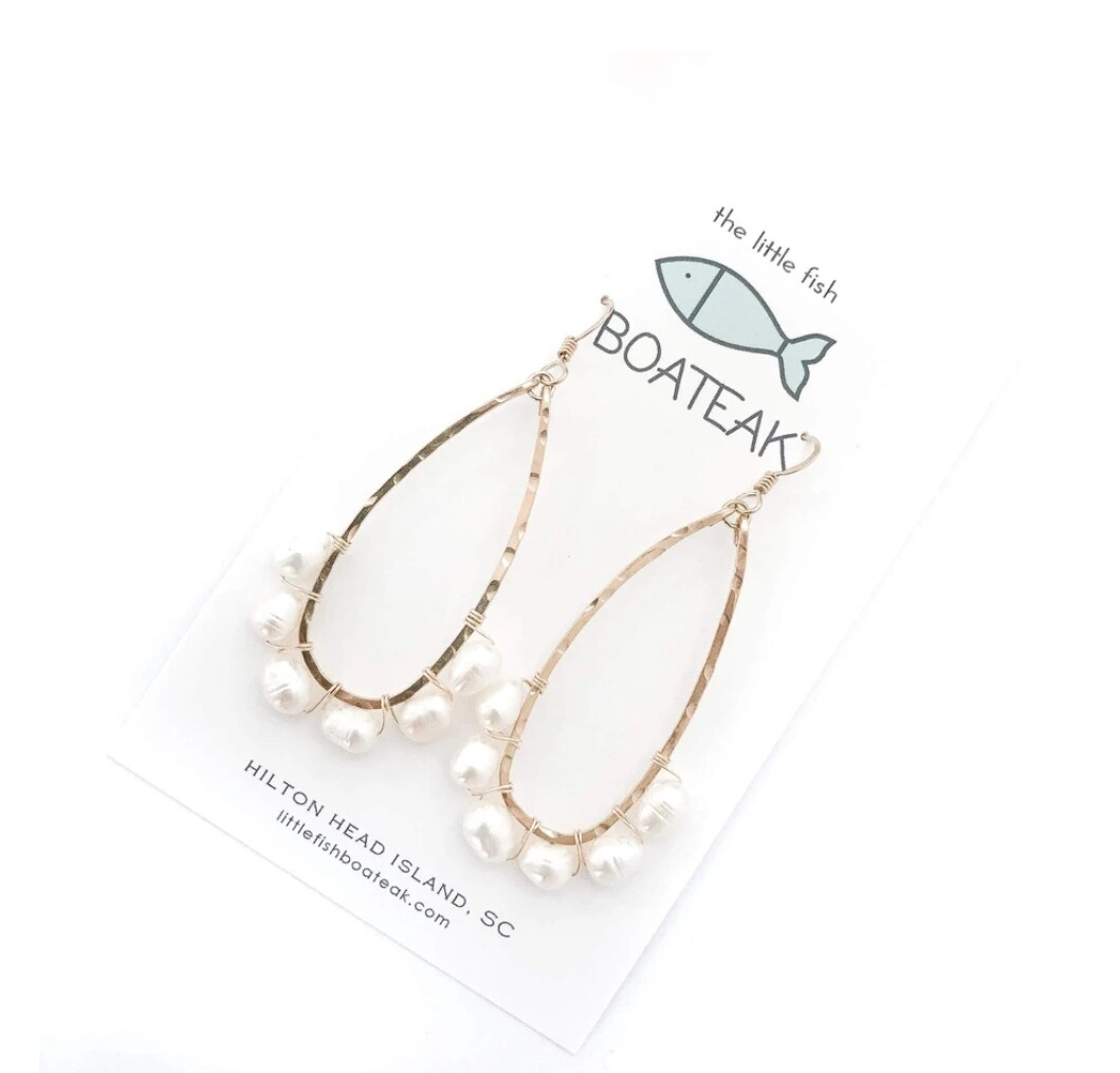 Little Fish Boateak Coastal Glam Beaded Keel Earrings w/ Rice Pearls