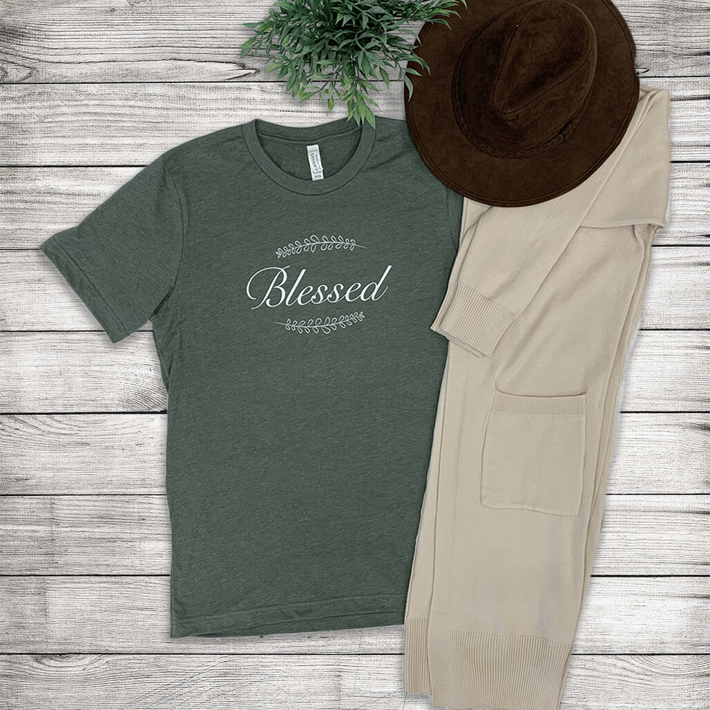 Blessed Tee- Olive