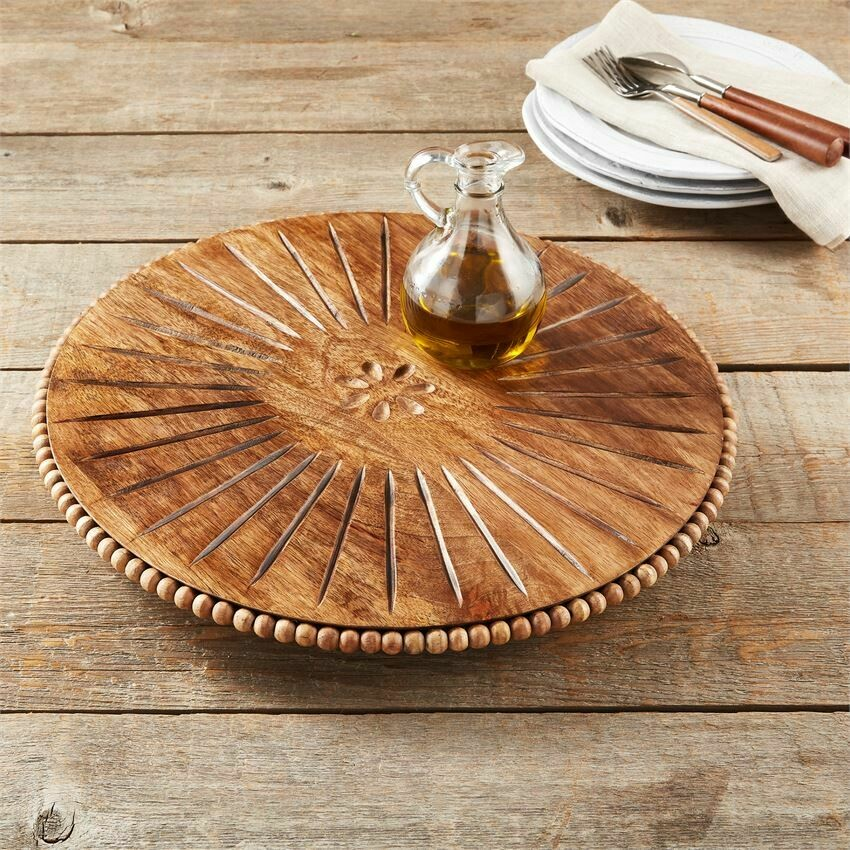 MudPie Beaded Wood Carved Lazy Susan