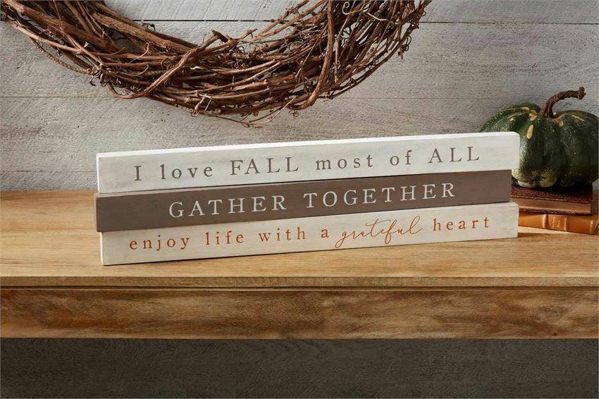 MudPie Love Fall Wood Sentiment Stick