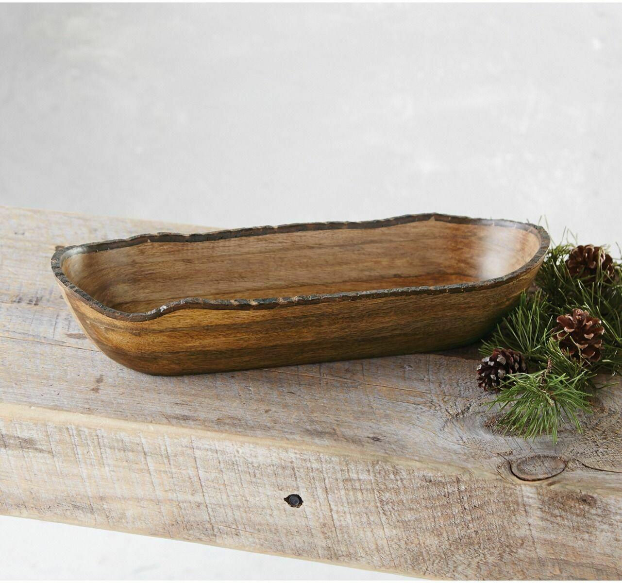 Mud Pie Bark Wood Oval Bowl