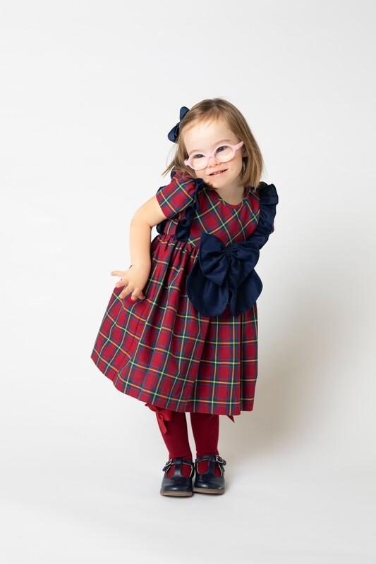Sophie & Lucas Cranberry Tartan Bow Dress