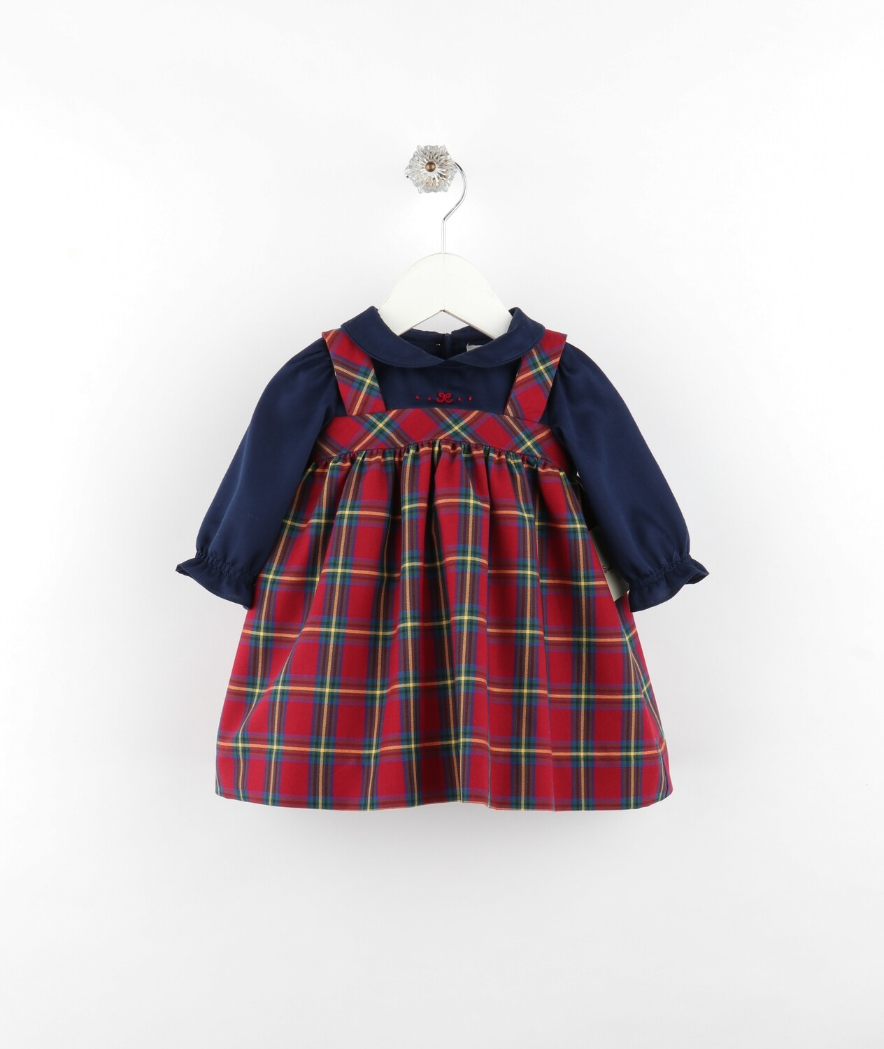 Sophie & Lucas Cranberry Tartan Jumper Dress