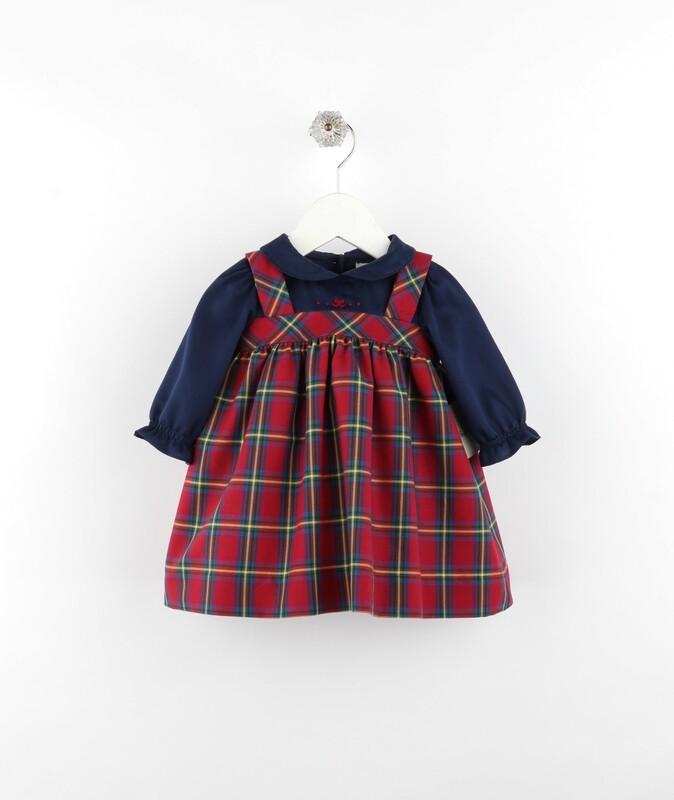 Sophie & Lucas Cranberry Tartan Jumper Dress