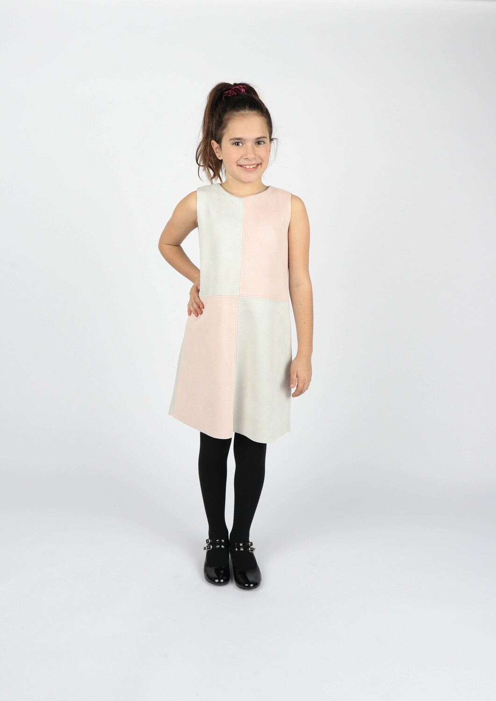 Gabby Faux Suede Color-block Dress