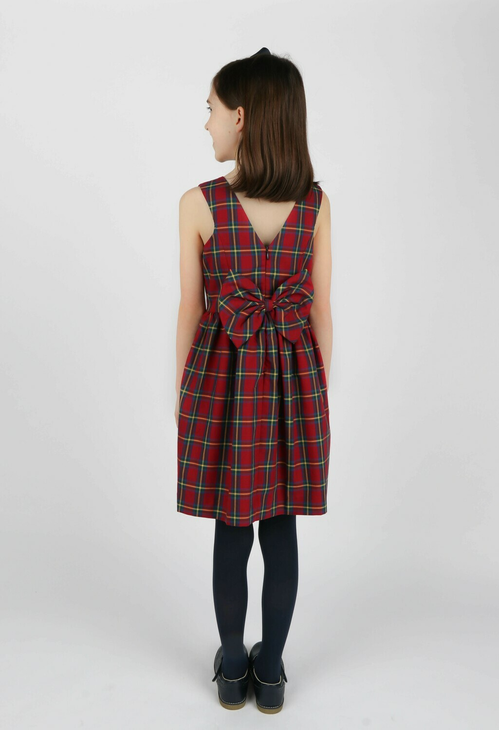 Gabby Cranberry Plaid Bow Dress