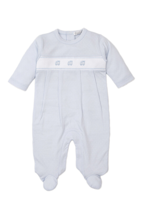 Kissy Kissy Blue Dot Embroidered Train Footie