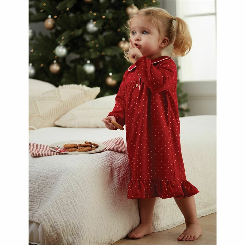 MudPie Flannel Polka Dot Girl's Night Gown