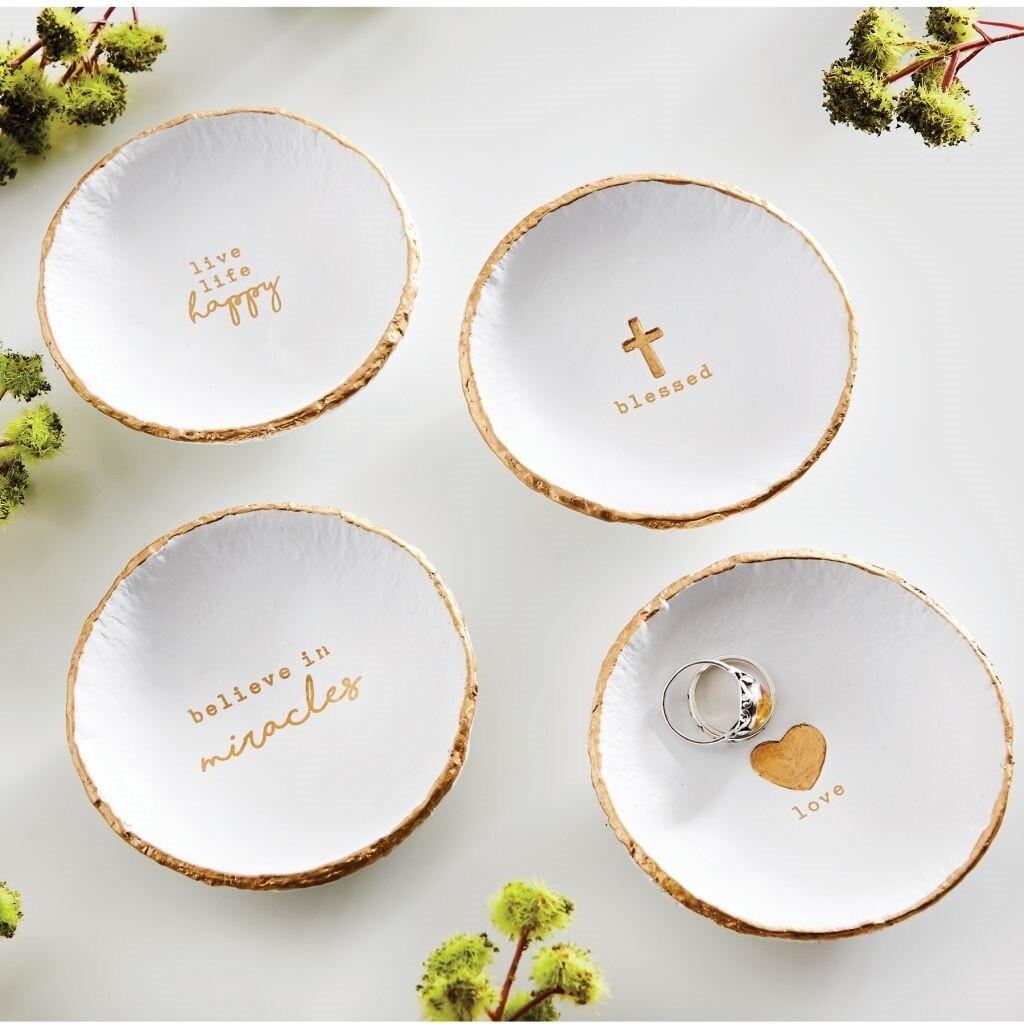 MudPie PazItive Gold Trinket Dish
