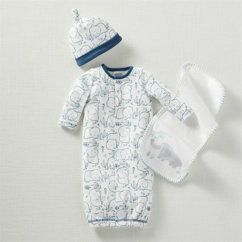 MudPie Blue Elephant Sleeper Gown Set 0-3M