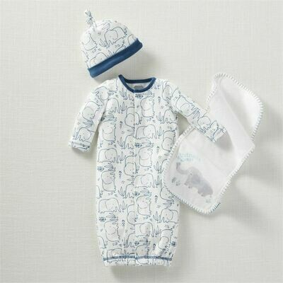 MudPie Blue Elephant Sleeper Gown Set 0-3M