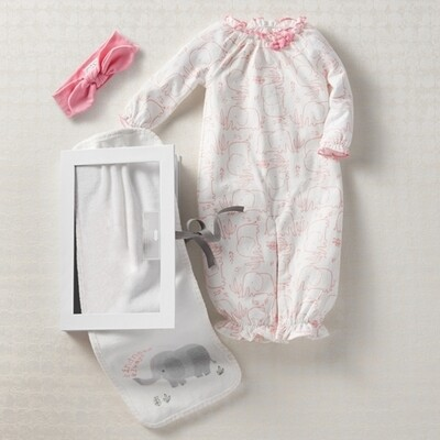 MudPie Pink Elephant Sleeper Gown Set 0-3M